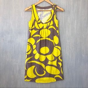 Boden slub knit jersey tank dress taupe yellow 2